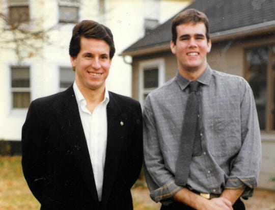 Mark Farrell (right) with brother Mike Farrell in a 1985 photo.
