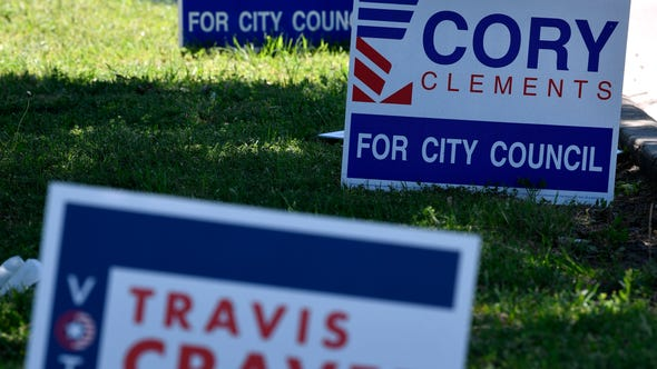 Campaign signs for Abilene City Council Place 5 candidate Cory Clements are mixed with those of Place 6 candidate Travis Craver along S. 14th St. Wednesday April 17, 2019.