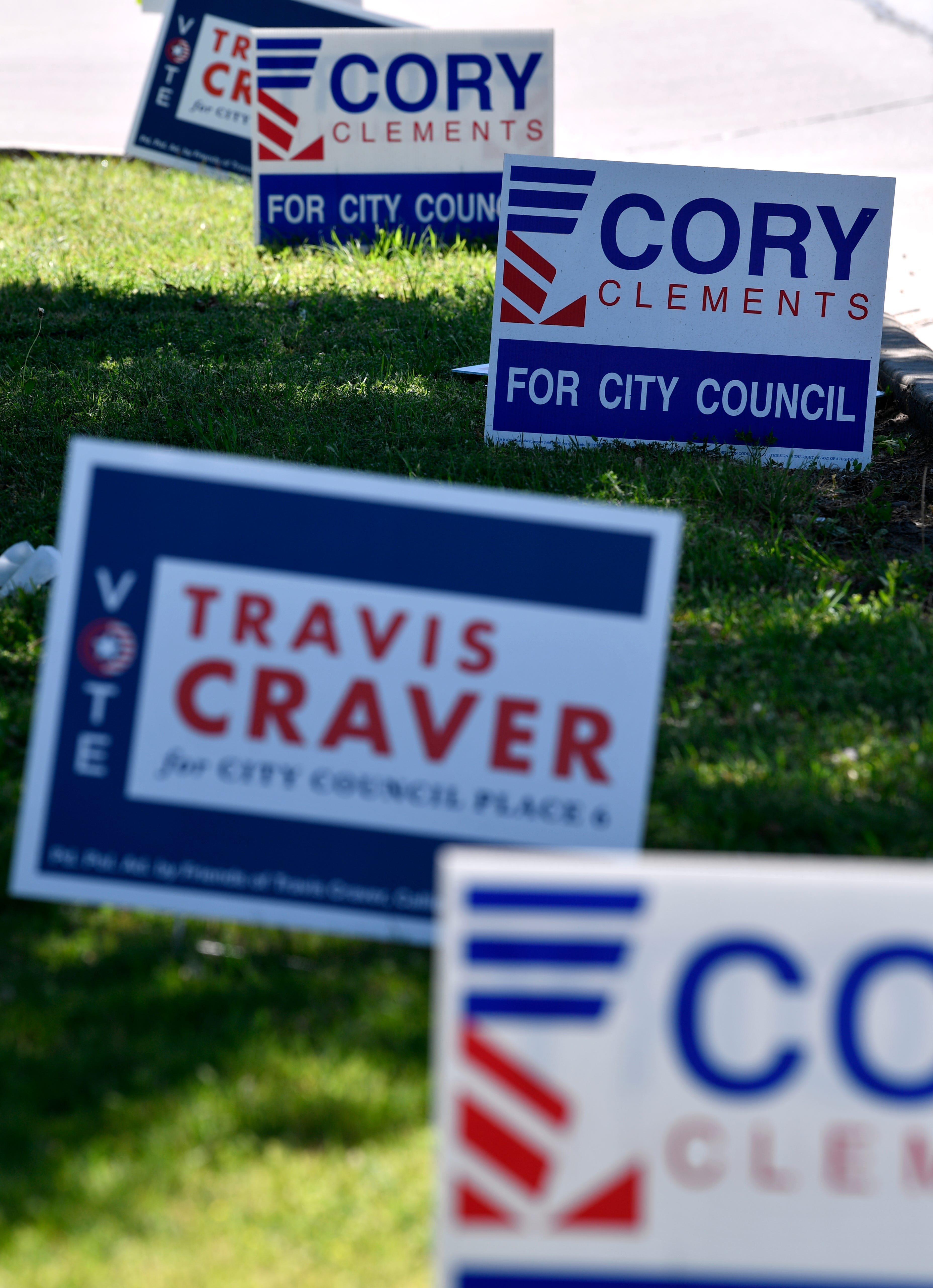 Campaign signs for Abilene City Council Place 5 candidate Cory Clements are mixed with those of Place 6 candidate Travis Craver along South 14th Street.