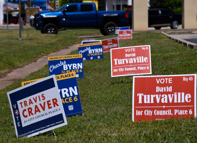 Campaign signs stand along South Danville Drive in Abilene.