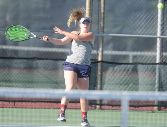 Jim Ned sophomore Kayla Hicks returns a shot during a semifinal match at the Region I-3A tennis tournament Thursday, April 18, 2019, at Rose Park in Abilene.