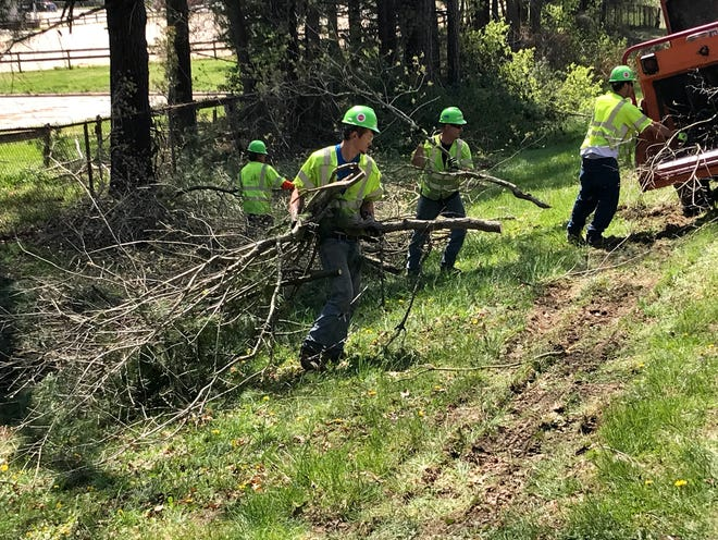 Duke Energy proactively trims trees throughout the region, as falling trees or limbs are a major cause of power outages. In this file photo, a contracted tree crew clears and grinds limbs along Fanning Bridge Road in Fletcher.