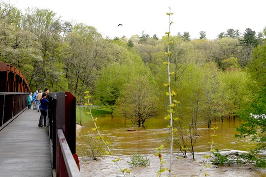 The John B. Lewis Soccer Complex in East Asheville was flooded after heavy rains on April 19, 2019.