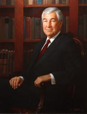 Joseph Boyd is depicted in this painting that was displayed in the Harris Corp. board of directors' conference room.