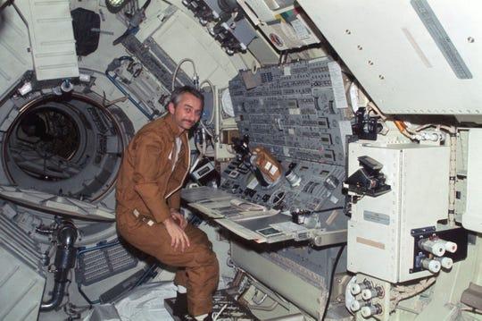 NASA Astronaut Owen Garriott is seen in the Skylab space station in 1973.