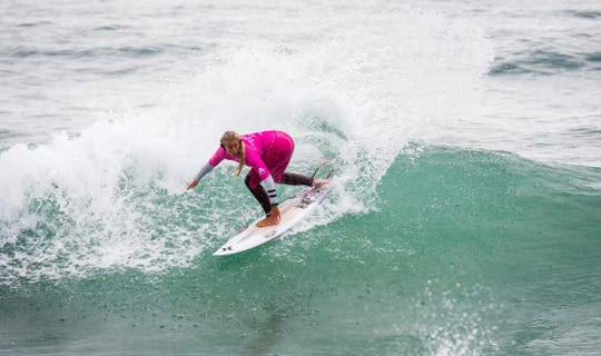 Rachel Presti of Melbourne Beach wins the second of two consecutive junior pro surf contests in Portugal.