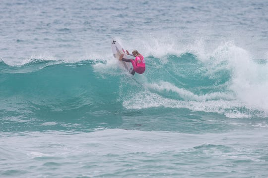 Rachel Presti of Melbourne Beach wins  the first of two junior pro surf contests in Portugal.