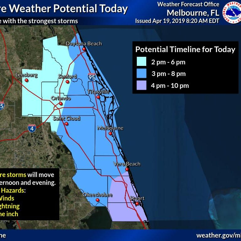 Severe weather could bring hail, strong winds, lightning to Brevard County this afternoon
