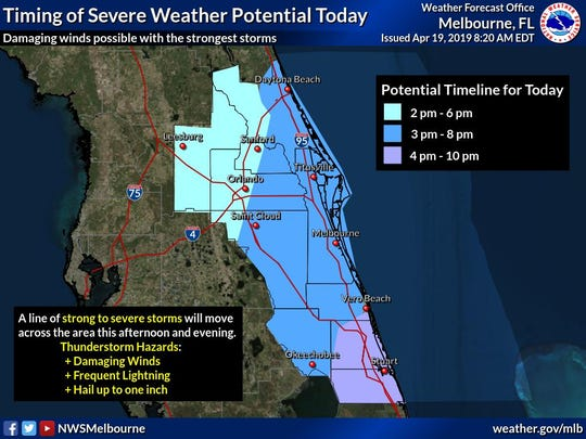 Severe weather expected in Brevard County between 3 and 8 p.m. April 19, 2019.