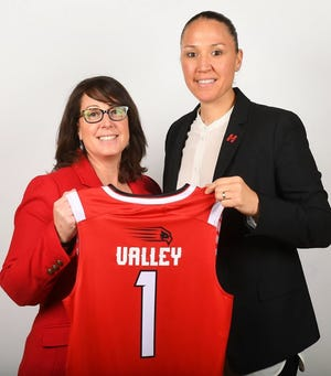 Rice Memorial High School grad Morgan Valley, right, is presented as the new women's basketball coach at Hartford by athletic director Mary Ellen Gillespie on Thursday, April 18, 2019.
