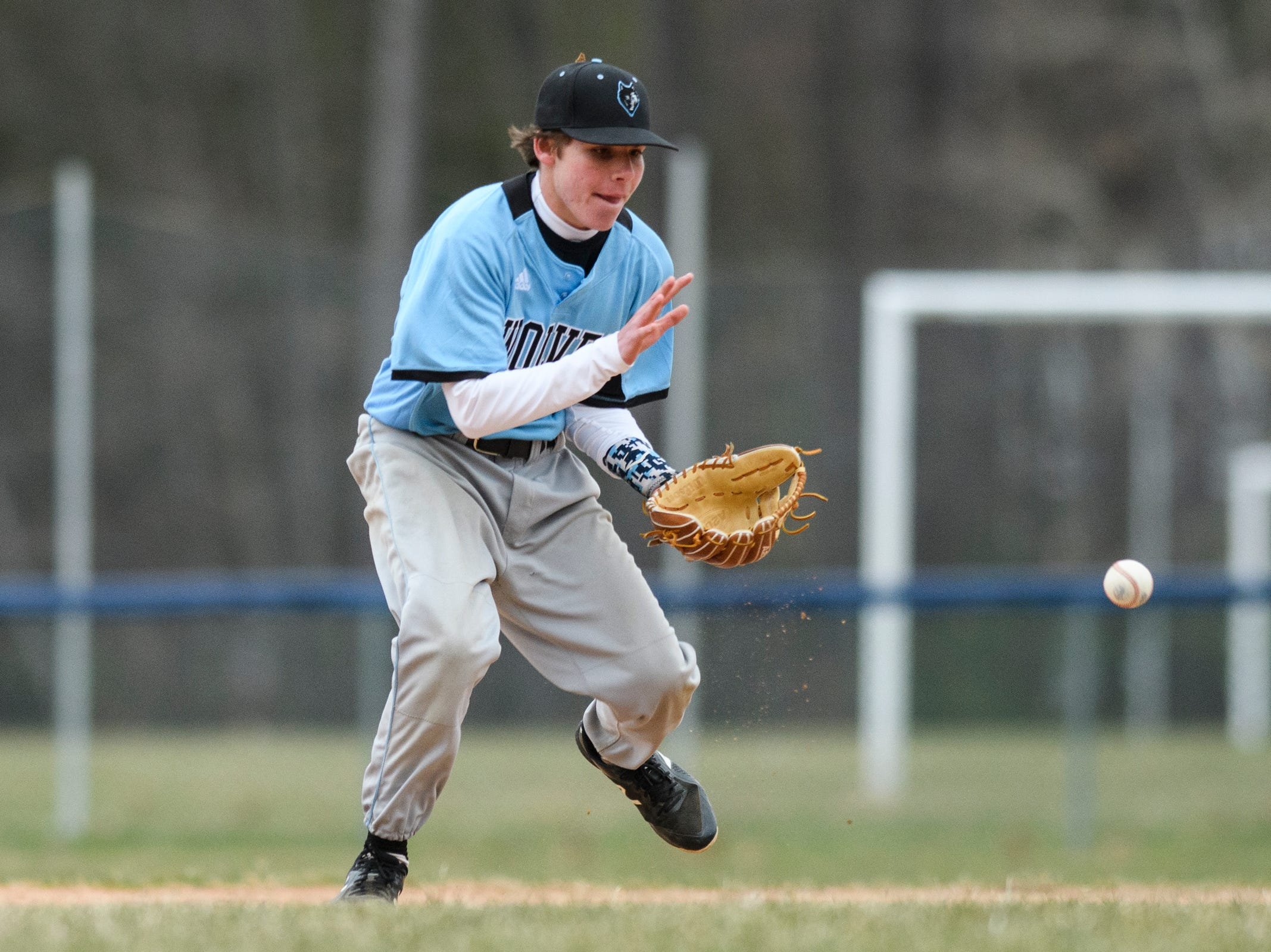 South Burlington second baseman Carson Cherry (7) plays the ball during the boys baseball game between the South Burlington Wolves and the Colchester Lakers at Colchester high school on Thursday afternoon April 18, 2019 in Colchester, Vermont.