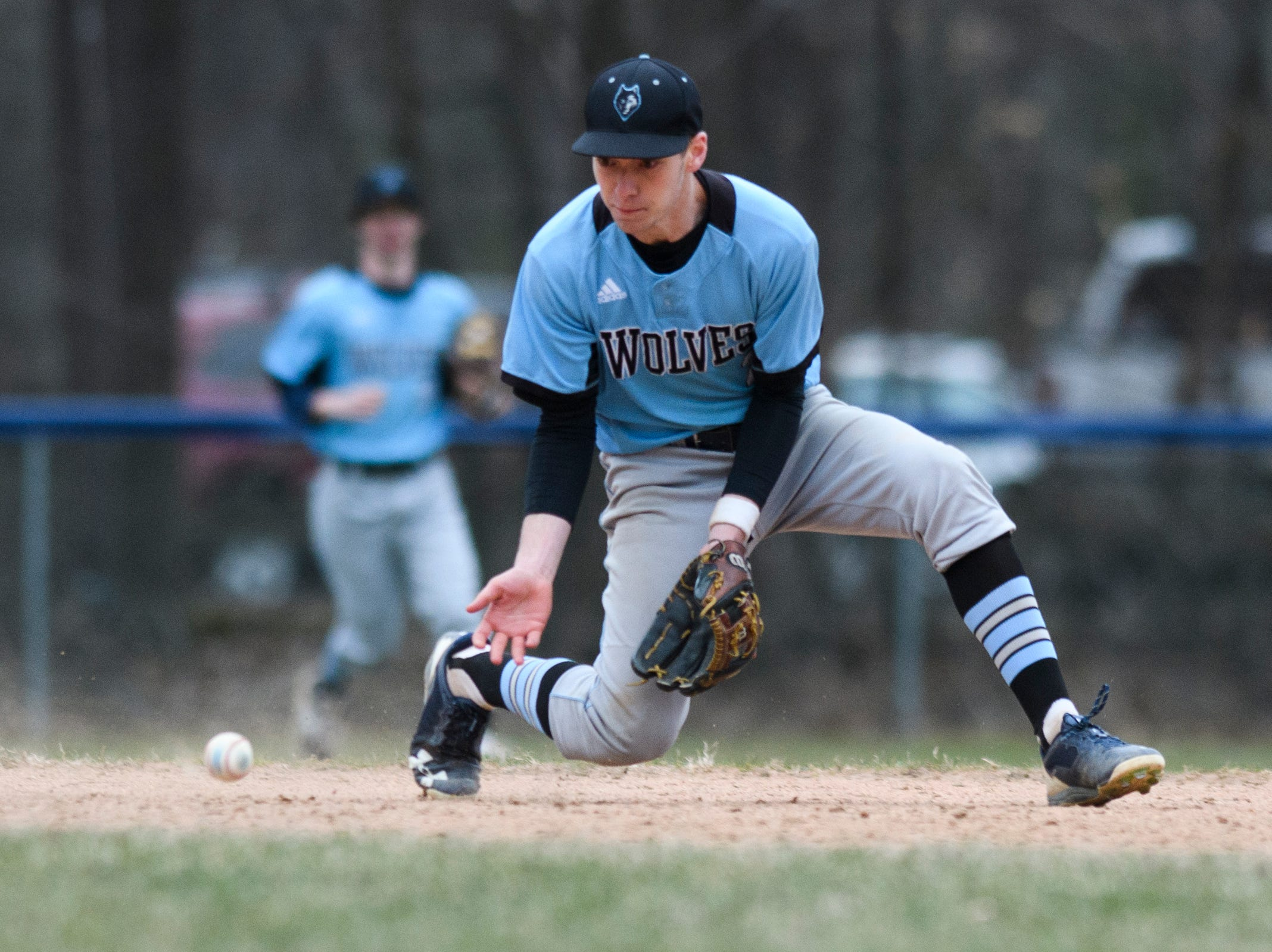 South Burlington short stop Nolan Antonicci (2) plays the ball during the boys baseball game between the South Burlington Wolves and the Colchester Lakers at Colchester high school on Thursday afternoon April 18, 2019 in Colchester, Vermont.