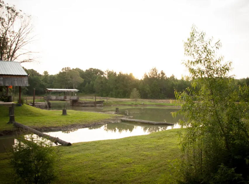 Cloey's Cabin is located nearby a small private lake in Chandler, Texas. Its rustic interior and exterior can transport any guest to the Old West.