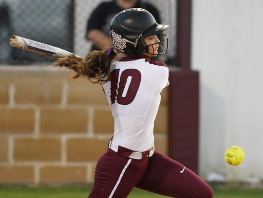 Flour Bluff's Cydney Deleon hits earlier this season. The Hornets topped Carroll in a Class 5A regional quarterfinal series on Saturday at Cabaniss Softball Field.