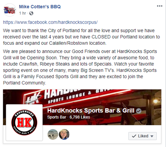 Mike Cotten's BBQ closes in Portland