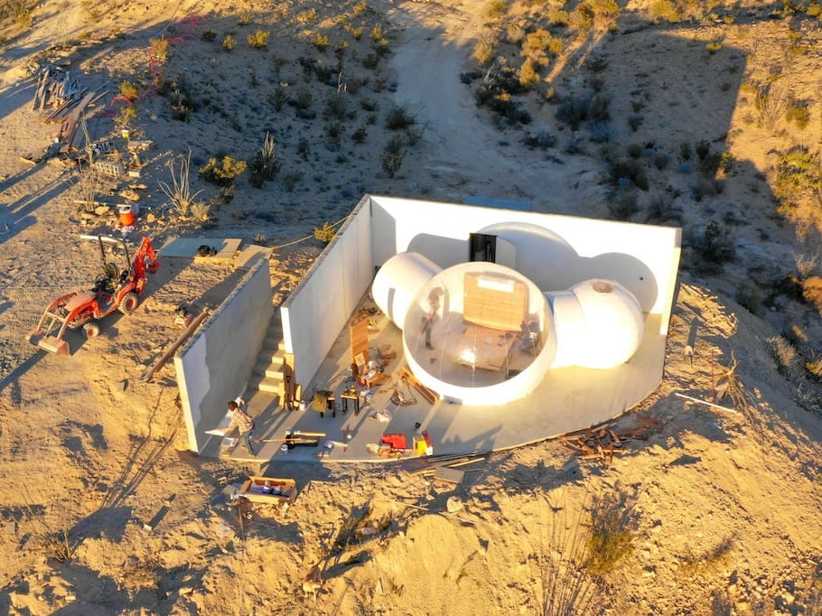 The Basecamp Bubble room in Terlingua, Texas is one of the first inflatable bubble rooms in the United States. It sleeps two adults and includes air-conditioning and heat, an indoor shower and toilet, a fridge and outdoor seating to enjoy the scenic desert.