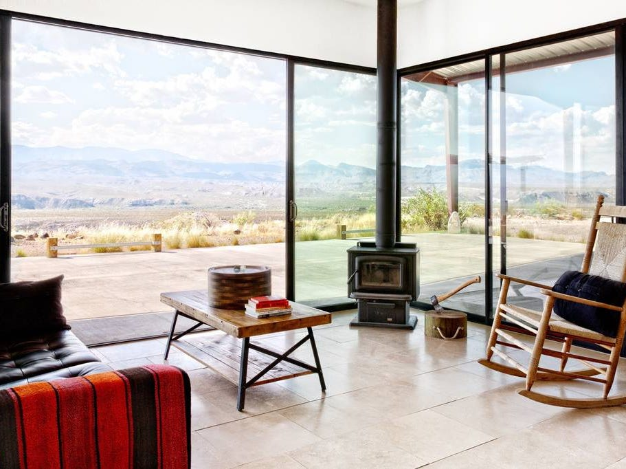 Relax at this isolated modern solar home just south of Marfa, Texas. The two bedroom, three bath home features world class views of Big Bend National Park.