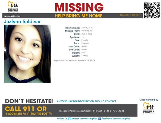 Jazlynn Saldivar was reported missing from Portland on Jan. 16, 2019. Anyone with information should call Ingleside police at 361-776-2531.