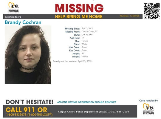 Brandy Cochran was reported missing from Corpus Christi on April 13, 2019. Anyone with information should call Corpus Christi police at 361-886-2600.