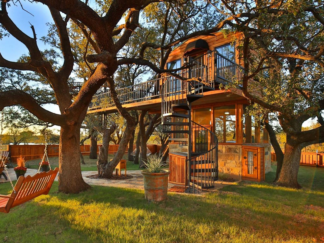Ryder's Tree House is located on an 800-acre ranch in Baird, Texas. It features a private, relaxing atmosphere perfect for any weekend getaway.