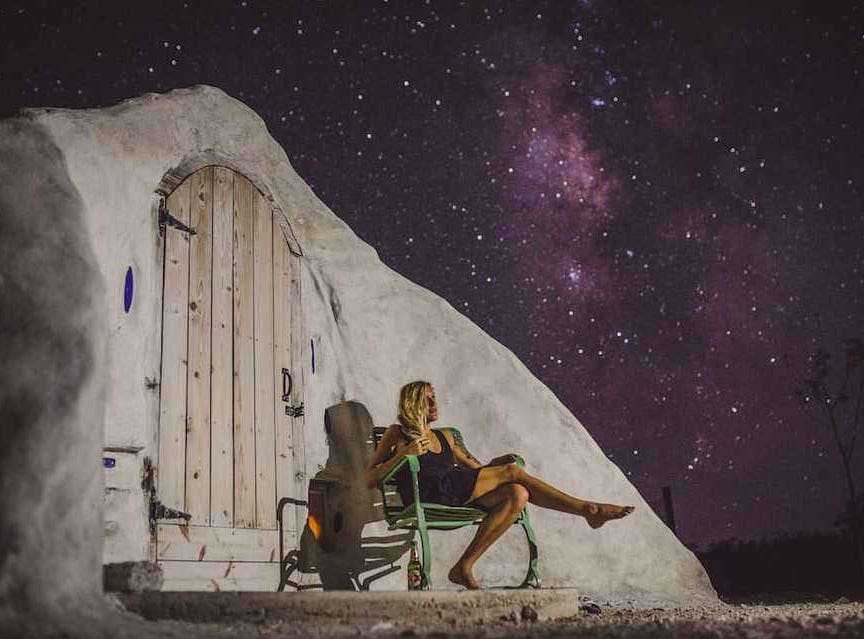 This remote, off-grid adobe dome is located in the desert of far west Texas in Terlingua, nearby Big Bend National Park. It has great views of nature, especially the night sky.