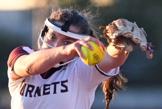 Flour Bluff's Kayci Spittler pitches during the softball game against Calallen, Thursday, April 18, 2019, at Flour Bluff. Flour Bluff won, 4-0.