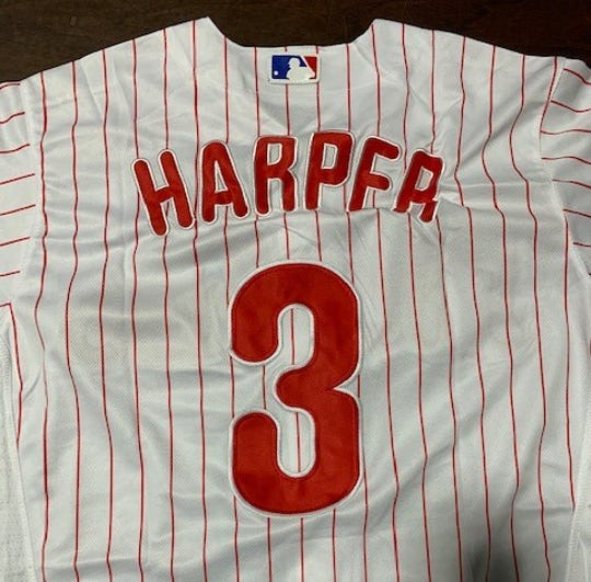 This counterfeit Bryce Harper jersey was seized by U.S. Customs and Border Protection officers in Philadelphia.