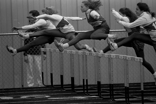 Unioto's Julie Wilkins and Zane Trace's Mandy Uhrig were considered two of the top female hurdlers in the Scioto Valley Conference in 1993.