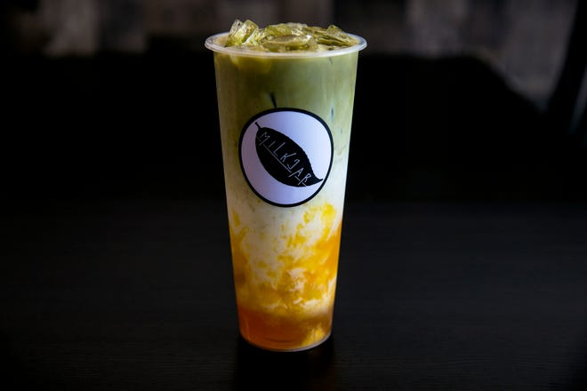 Mango matcha tea by The Milk Jar in Hyde Park Plaza. The Milk Jar serves ice cream, cereal and milk, and drinks based on bubble tea.