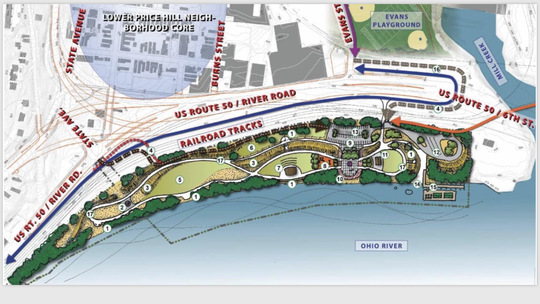 A rendering of Price Landing, a park planned in Lower Price Hill. Land adjacent to the park at the confluence of the Ohio River and Mill Creek could be key to the music venue deal at The Banks. Residents are concerned it would harm the plans for Price's Landing