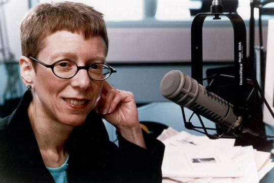 "Terry Gross in her office, host of ""Fresh Air"" on WHYY-FM/Philadelphia, distributed by National Public Radio."
