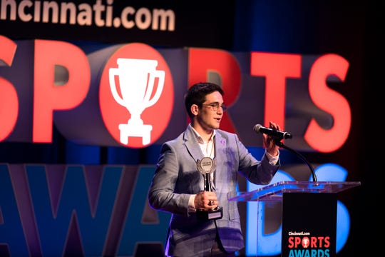 Lucas Byrd, of La Salle, accepts the wrestler of the year award during the Cincinnati.com Sports Awards, sponsored by TriHealth, on Thursday, April 18, 2019 at Cincinnati Music Hall in Cincinnati.