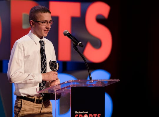 Josh Wheeler, of Cincinnati Autism High School, accepts the boys Special Olympics athlete of the year award during the Cincinnati.com Sports Awards, sponsored by TriHealth, on Thursday, April 18, 2019 at Cincinnati Music Hall in Cincinnati.