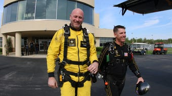 Lipscomb Coach Trent Dilfer jumps with the Army Golden Knights parachute team. (Note: Dilfer segment begins at 1:00.)