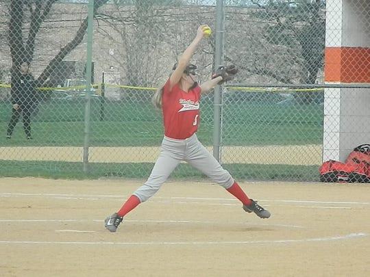 Mother Seton's Samantha Perrette pitches against East Brunswick Tech on Thursday, April 18, 2019.