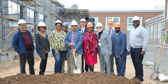 Participating in the ceremonial groundbreaking Thursday at Barlow School were: Front Row: LAN Site Manager, Carmencita Pile, Board of Education members Lynn Anderson, , John Campbell, Emily Morgan, Wilson Aponte, Principal of Barlow School, Sean Sutton, Buildings & Grounds Coordinator and school board member, Terence J. Johnson. Back Row: Jason Greer, Plainfield Public Schools Clerk of the Works, Kenneth Karle, president of LAN Associates and Gary Ottmann,  Plainfield Public Schools business administrator