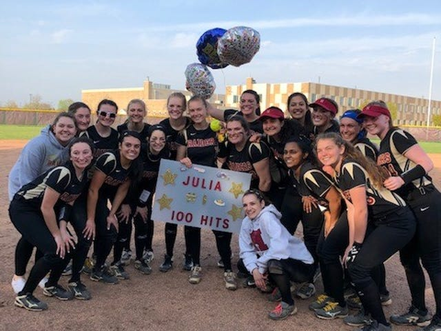 Hillsborough's Julia Kwiatek recorded her 100th career hit in a victory over Watchung Hills on Thursday, April 18, 2019.