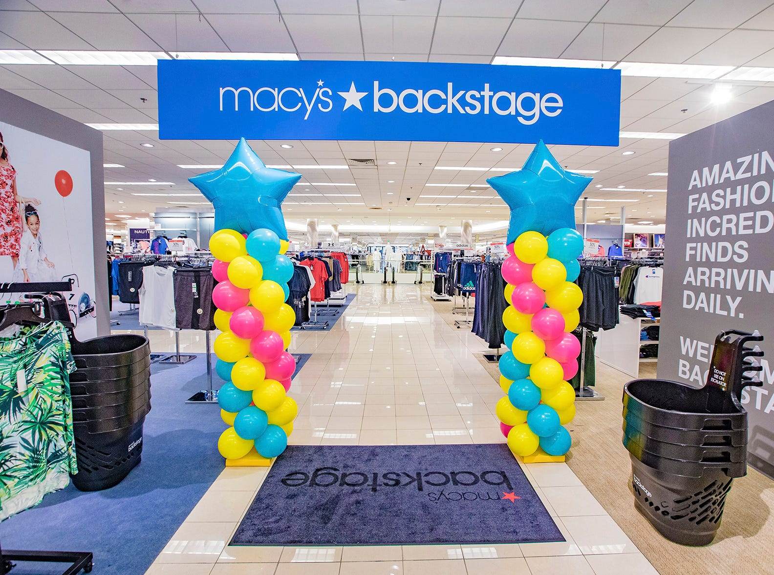 Macy's Backstage openedat the Macy's location inMenlo Park Mall, on Saturday, April 13.Macy's Backstage provides a store-within-store shopping experience featuring significant savings on fabulous finds.