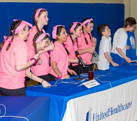 Seventh graders from Park Middle School enjoy adding another point to the scoreboard during the 2019 UnitedHealthcare Health Bee competition in Scotch Plains. The UnitedHealthcare Health Bee, in its 10th year, is a quiz show-style competition designed to get middle-school students excited about health, fitness and nutrition.