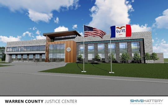 A recent rendering of the exterior of the Warren County Courthouse and Justice Center.