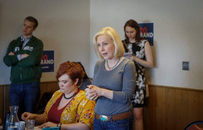 U.S. Senator and democratic presidential candidate hopeful Kirsten Gillibrand (D-NY) visited with college students and supporters in Denison, Iowa, in this April 19 photo.