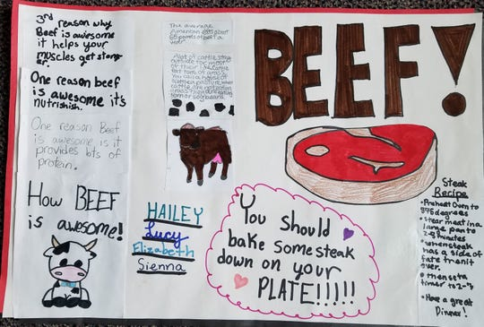 A winning poster from Des Moines Christian School for the High Steaks! Beef Marketing Competition.