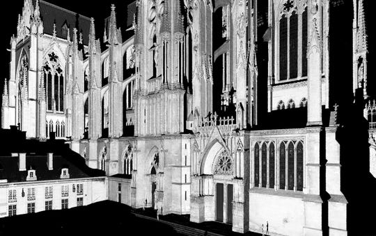A LiDAR scan by Iowa researchers shows a view of the north side of Metz Cathedral in France.