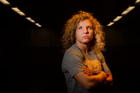 Hawkeye Wrestling Club freestyle wrestler Lauren Louive poses for a portrait before practice on Thursday, April 18, 2019, in Iowa City. Louive is one of five Senior-level womenÕs wrestlers. Their addition to the Hawkeye Wrestling Club has helped womenÕs wrestling continued its rapid growth.