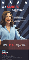 An advertisement for the fictional character Selina Meyer (played by Julia Louis-Dreyfus) from the HBO political comedy Veep.