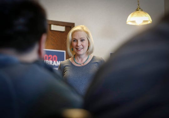 U.S. Senator and democratic presidential candidate hopeful Kirsten Gillibrand (D-NY) visited with college students and supporters at Cronks restaurant in Denison on Friday, April 19, 2019.