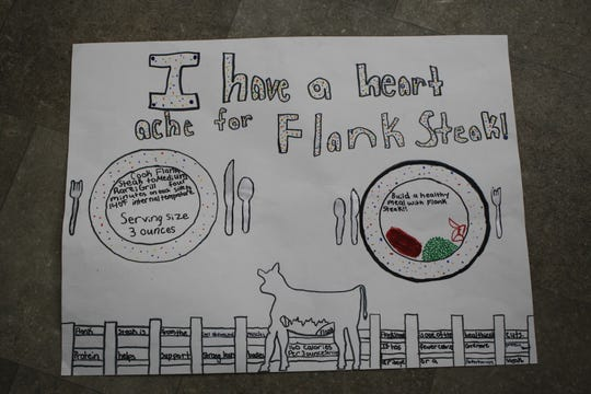 A winning poster selected in the High Steaks! Beef Marketing Competition by Gilmore City-Bradgate.