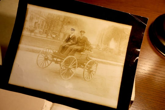 Pictures from 1896 of Charles Brady King on the streets of Detroit driving an early model vehicle. The photograph and others are part of the National Automotive History Collection that they have at the Skillman Branch of the Detroit Public Library on Tuesday, April 16, 2019.