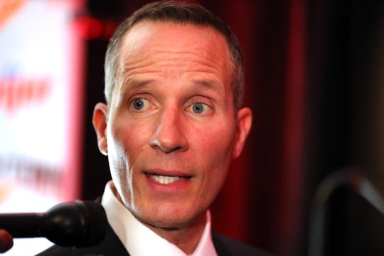 Christopher Ilitch talks about new Detroit Red Wings GM Steve Yzerman Friday, April 19, 2019 at Little Caesars Arena in Detroit, Mich.