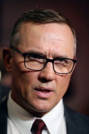 New Detroit Red Wings GM Steve Yzerman takes questions Friday, April 19, 2019 at Little Caesars Arena in Detroit, Mich.
